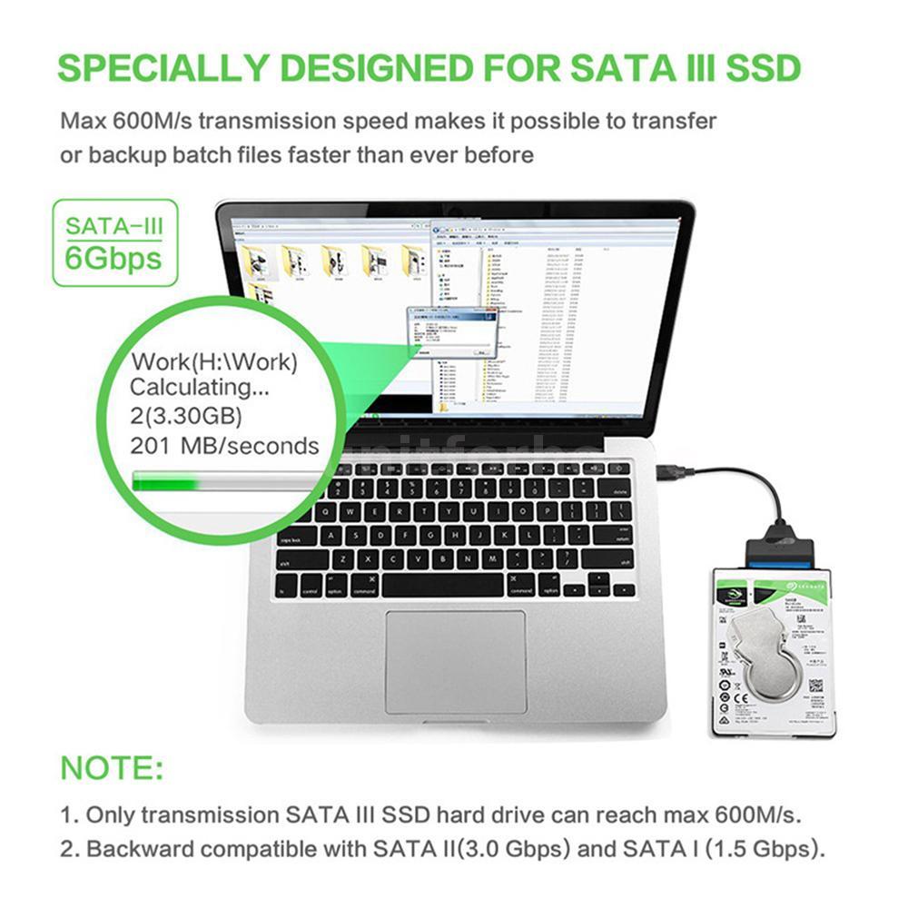"USB 3.0 to SATA III Converter Adapter For 2.5/""inch SATA SSD HDD Hard Drive G1J8"